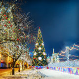 Christmas balls on tree branches in Red square Royalty Free Stock Photography