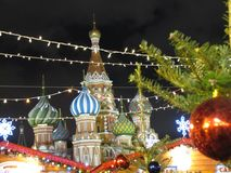 Christmas balls on tree branches in Red square. New year time in Moscow Royalty Free Stock Photography