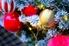 Christmas balls and tree. Close up picture of colorful christmas decoration: beautiful street christmas balls with different ornamentation. Deep colors, some Stock Photography