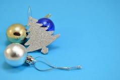 Christmas balls and tree Stock Photos