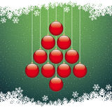 Christmas balls tree snowflake green background Stock Images