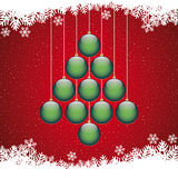 Christmas balls tree snowflake red background. Christmas balls tree winter snowflake red background Royalty Free Stock Photo