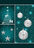 Christmas balls, tree and stars. Christmas balls in silver with snowflakes, xmas tree and hanging stars on a dark blue themed background Stock Image