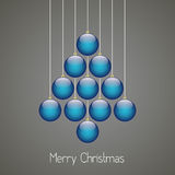 Christmas balls tree twine gray background Stock Photo
