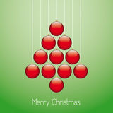 Christmas balls tree twine green background Royalty Free Stock Photo