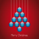 Christmas balls tree twine red background Royalty Free Stock Images