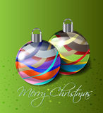 Christmas balls. Two Christmas balls with stars and letters Stock Photo