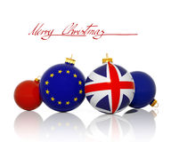 Christmas balls with United Kingdom Flag and European Union flag. Isolated on white royalty free illustration