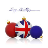 Christmas balls with United Kingdom flag. Isolated on white vector illustration