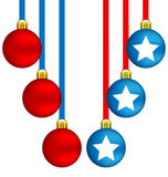 Christmas balls in US colors Royalty Free Stock Photo