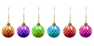 Christmas balls of various colours. Isolated on white Royalty Free Stock Photos