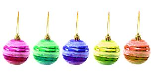 Christmas balls of various colours. Isolated on white Royalty Free Stock Images