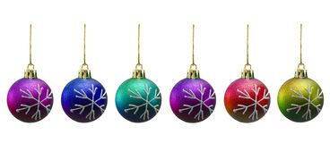 Christmas balls of various colours. Isolated on white Royalty Free Stock Image