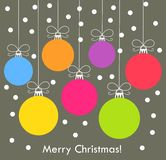 Christmas balls vector card Royalty Free Stock Images