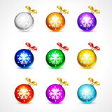 Christmas balls  vector holiday background ribbon new celebration christmas snowflake Royalty Free Stock Images