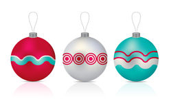Christmas balls. Vector illustration of Christmas balls in three different colours royalty free illustration