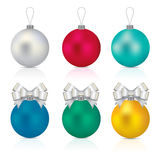 Christmas balls. Vector illustration of Christmas balls in three different colours stock illustration
