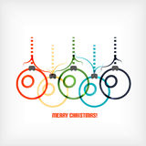 Christmas balls vector line art background Stock Photos