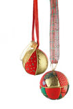 Christmas balls - vertical photo. Christmas balls over white - vertical photo Royalty Free Stock Images
