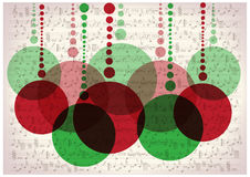 Christmas balls on vintage music notes background Stock Photography