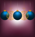 Christmas balls on violet Royalty Free Stock Photo