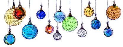 Christmas balls. watercolor, isolate. Multicolored christmas balls. Seamless garland. On a white background Stock Images