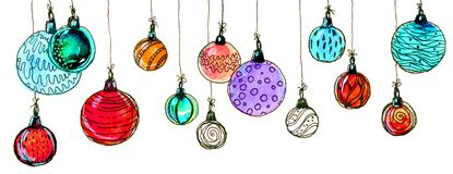 Christmas balls. watercolor, isolate. Multicolored christmas balls. Seamless garland. On a white background Royalty Free Stock Photos