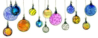 Christmas balls. watercolor, isolate. Multicolored christmas balls. Seamless garland. On a white background Stock Photo