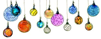 Christmas balls. watercolor, isolate. Multicolored christmas balls. Seamless garland. On a white background Royalty Free Stock Photography