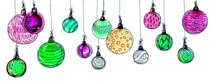 Christmas balls. watercolor, isolate. Multicolored christmas balls. Seamless garland. On a white background Royalty Free Stock Images