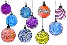 Christmas balls. watercolor, isolate. Multicolored christmas balls. Seamless garland. On a white background Royalty Free Stock Photo
