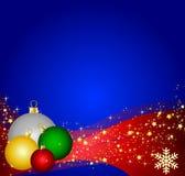 Christmas balls and waves Stock Photos