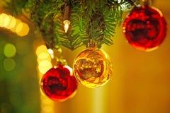Christmas balls - Weihnachtskugeln. Golden and red christmas balls - goldene und rote Weihnachtskugel stock photo