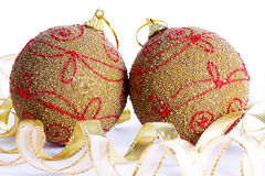 Christmas balls on white background Stock Photography