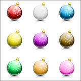 Christmas balls on white background. Collection of nine christmas balls on white background, illustration royalty free illustration