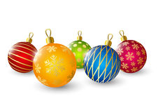 Christmas balls on white Royalty Free Stock Photos