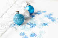Christmas balls on a white background Stock Images