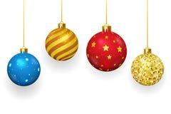 Christmas balls  on white background. Christmas balls on white background. Xmas and ornament, winter season, sphere shiny, vector illustration Royalty Free Stock Photos