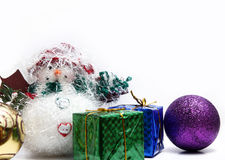Christmas balls on white feathers Royalty Free Stock Image