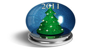 Christmas balls on white plan. And glass and metal Stock Photography