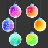 Christmas balls with white snowflakes decorations. Vector set of six colorful rainbow Christmas balls with white snowflakes decorations on them isolated on gray vector illustration