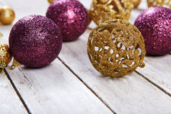 Christmas balls on white table Royalty Free Stock Photography