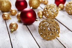 Christmas balls on white table Stock Photos