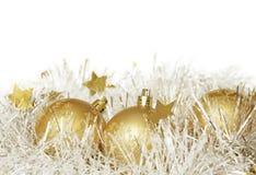 Christmas balls with white tinsel Stock Photo