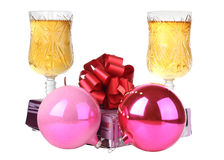 Christmas balls and wineglasses Stock Photography