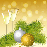 Christmas balls and wineglasses Stock Image