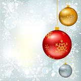 Christmas balls on winter background. Christmas balls on winter bokeh background with snowflakes. Vector illustration, template for banners, gift cards Royalty Free Stock Photography