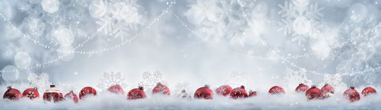 Christmas decoration. Christmas balls in winter setting Royalty Free Stock Photo