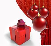 Christmas Balls With Red Curtain And Gift Box Stock Image