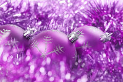 Free Christmas Balls With Tinsel Royalty Free Stock Image - 27775116